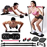 GLACUS Home Gym Workout Equipment, Portable Exercise Equipment for Men and Women, Fitness Equipment with Pilates Bar Resistance Bands Ab Wheel, Full Body Workout Muscle Build