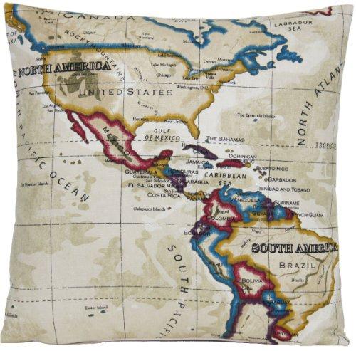 Mapa del mundo Beige y granate decoración funda de almohada Atlas continentes-Funda para cojín