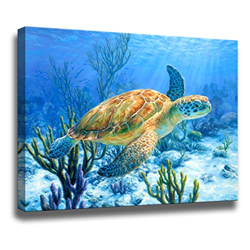 Bathroom Decor Sea Turtle Pictures Painting Wall Art Beach Decor...
