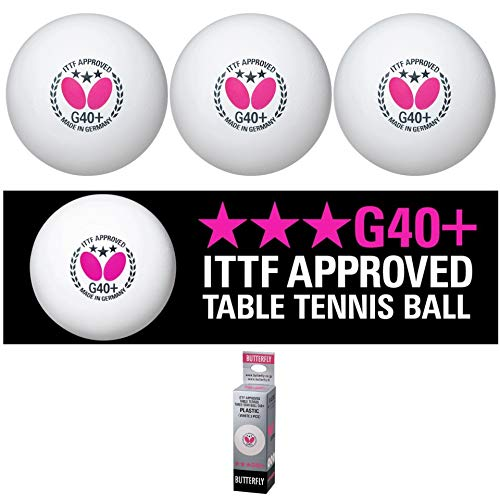 Butterfly G40+ Table Tennis Balls - 40mm White Ping Pong Ball - ITTF Certified Professional Table Tennis Ball- Poly Table Tennis Ball - 3 Pack or 12 Pack