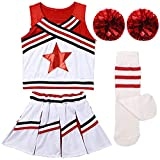 Girls Kids Cheerleader Uniform Costume Soccer Carnival Party Outfit Crop Top with Skirt Knee Socks Match Pom poms Set Red