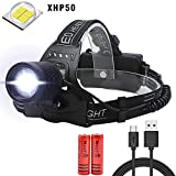Super Bright Headlamp High 6000 Lumens WindFire CREE XHP50 LED Rechargeable Headlamp Light Focus Adjustable Zoomable Waterproof 3 Modes Batteries Included,Perfect for Outdoor Camping Fishing Hiking