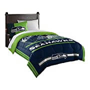 "Features NFL team helmet above team name and logo; background is bold team color Soft, cozy and warm; set comes with comforter and sham Comforter measures 64""W x 86""L; Sham measures 24""W x 30""L Comforter: Machine wash cold separately using delicate c..."
