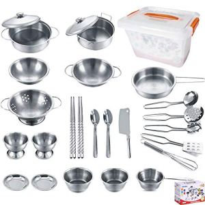 KEJIH-Cooking-Utensils-Set-25-Pieces-Stainless-Steel-Kitchen-Toys-Pretend-Play-Pots-Pans-Toy-Cookware-Kits-for-Kids-Come-with-a-Handy-Storage-Box-Role-Play-Educational-Toys-for-Toddlers-Small-Size