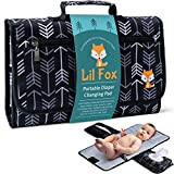 Portable Diaper Changing Pad by Lil Fox   Use One Handed   Waterproof Portable Changing Mat for Moms, Dads & Babies   Memory Foam Baby Head Pillow (Grey)