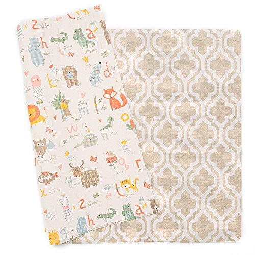 Baby Care Play Mat - Haute Collection (Medium, Moroccan - Beige) - Play Mat for Infants  Non-Toxic Baby Rug  Cushioned Baby Mat Waterproof Playmat  Reversible Double-Sided Kindergarten Mat