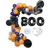 zorpia Halloween Balloons Garland DIY kit Crazy Halloween Happy Birthday Party Decorations Arch for Kids with Stretch Spider Webs Halloween BOO Foil Balloons Solid Latex party supplies Halloween photo