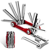 Bike Multitool, Multi Function Tools - 11 in 1 with Portable Chain Repair Tool Kit and Felt Bag - for Road and Mountain Bikes, MTB, BMX Etc - Silver + Red.