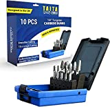 10PC Carbide Burr set 1/4' Shank,Tungsten Double Cut Rotary Die Grinder Bits - Cutting Burrs For Fordom, Milwaukee And Die Grinder Accessories - Wood Carving Metal Working & Sturdy Storage Case