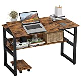 IRONCK Computer Desk 47', Writing Study Table, Multi-Function Drafting Drawing Table with Adjustable...