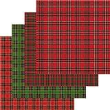 Printed Vinyl Plaid, Adhesive Vinyl Sheets Bulk, Red and Green Plaid, 4-12'x12' Sheet Bundle