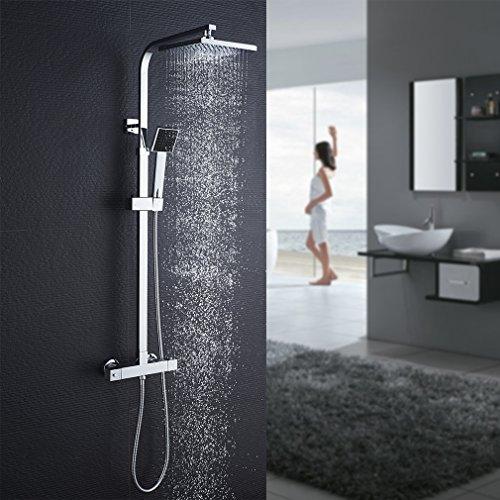 Auralum Duschsystem mit Thermostat Mischer, Duscharmatur Thermostat mit Regendusche und Handbrause, Anti-Verbrühungs-Duschsystem