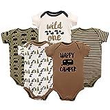 Luvable Friends Unisex Baby Cotton Bodysuits, Happy Camper, 3-6 Months