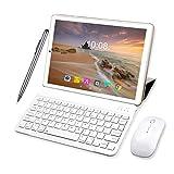 Tablette Tactile Ecran 10 Pouces 64Go ROM 4Go RAM 2 en 1-Clavier Bluetooth + Souris 4G Doule SIM/WiFi 8000mAh Batterie Tablette 4G Android 9.0-10pcs