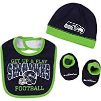 Includes one officially licensed Seattle Seahawks cap, ankle Bootie sock, and bib Cotton/polyester blend Interlock and rib Seahawks logo with screen print and contrast coverstitch Brand name: NFL