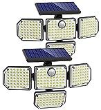 Solar Motion Lights Outdoor, 2600LM 4 Head Solar Lights Outdoor, Super Bright 3 Modes Solar Flood Lights Outdoor, IP67 Waterproof Security Lights Motion Outdoor for Patio Garage Door Driveway, 2 Pack
