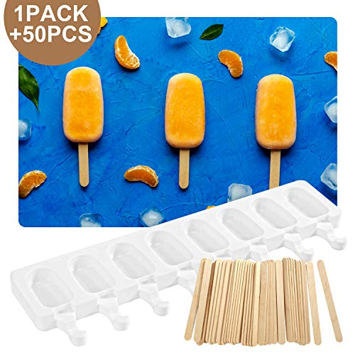 Apipi Silicone Ice Cream Bar Mold- 8-Cavities Classic Popsicle Molds Homemade Easy Cream Ice Pop Molds Oval Popsicles Maker with 50 Wooden Sticks for DIY Ice Cream