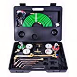 Goplus Gas Welding Cutting Torch Kit, Portable Oxy Acetylene Oxygen Brazing, Professional Tool Set Victor Type w/Case and Hose