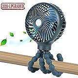 Mini Handheld Personal Portable Fan, Baby Stroller Fan, Car Seat Fan, Desk Fan, with Flexible Tripod Fix on Stroller/Student Bed/Bike/Crib/Car Rides, USB or Battery Powered (Dark Blue)