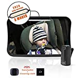 Moyu Home Baby Car Mirror,3 Modes LED Lights Back Seat Rear Facing toddler Safety Mirror,11.4' X 7.1'Wide View with 360 Pivoting,Shatterproof Glass Black
