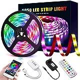 Ruban LED Bluetooth 5M, Bande LED 5050 RGB 150 LED Flexible Multicolore Kit de Lumiere LED avec Télécommande, Synchroniser avec la Musique,Contrôlé par APP,...