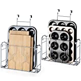 Auledio 2 Pack Over the Door/Wall Mount Cabinet Organizer Storage Basket in Kitchen or Pantry for Cutting Board, Aluminum Foil, Plastic Wrap, Mesh Silver
