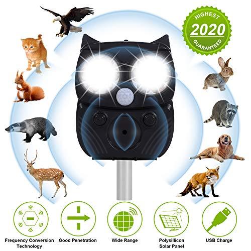 Katzenschreck Tiervertreiber,5 Modus Hochleistung Breite Abdeckung Ultraschall Tiervertreiber Solar,Wasserdicht Einstellbarem Solarbetriebener Repeller,Für Katzen,Vögel, Waschbären,Hunde,Schädlinge