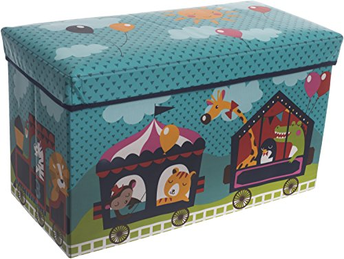 Bieco Aufbewahrungsbox mit Sitzbank Zirkus Sitzhocker mit Stauraum und Deckel mit Polsterung 66L türkis zusammenklappbar, 04000564