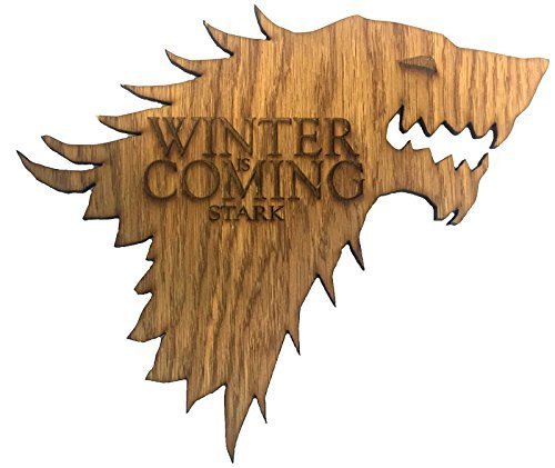 """Game Of Thrones House Stark Winter Is Coming """"Madera Direwolf Sigil, madera, 30cm x 25cm"""