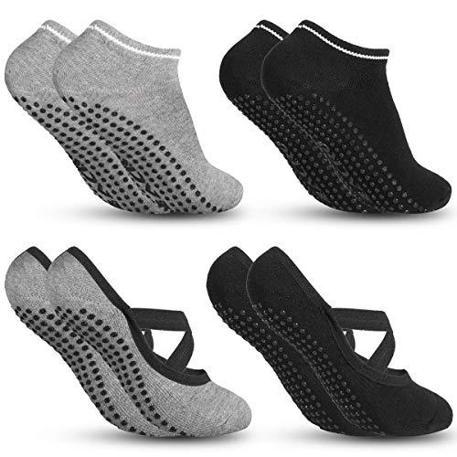 Zacro Calze da Yoga Antiscivolo Yoga Socks 4 Pairs Fitness, Pilates, Barre, Danza, Allenamento a...