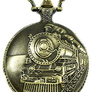 """North American Railroad Approved, Railway Regulation Standard, Train Pocket Watch""""150th Aniversary USA"""" Japanese Movement""""Steam Engine #""""1″ (of 5 Watch Collection)"""