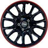 J-Tec J16575 Jeu d'enjoliveurs Hero GTR 16-inch Noir/Bord Rouge, Set de 4