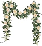 U'Artlines Lot de 2 Guirlande de Rose Thé Artificielles avec Feuille de Lierre...