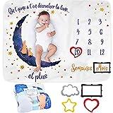 Couverture Étape Mensuelle pour Bébé en Français   Couverture Bébé Unisexe   Couverture Personnalisée Babyshower   Thème Lune   Douce et Épaisse   Couverture Photo   Suivez Sa Croissance