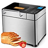 KBS Large 17-in-1Bread Machine, 2LBAll Stainless Steel Bread Maker with Auto Fruit Nut Dispenser, Nonstick Ceramic Pan, Full Touch Panel Tempered Glass, Reserve& Keep WarmSet, Oven Mitt and Recipes