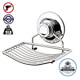 BATHBEYOND Vacuum Suction Cup Soap Dish Holder, Bar Soap Sponge Holder for Shower, Bathroom, Tub and Kitchen Sink - Rust Proof Stainless Steel