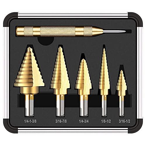 5PCS Titanium Step Drill Bit Set & Automatic Center Punch, 50 Sizes(1/8''-1 3/8'') in High Speed Steel Drill Bit Set, Double Cutting Blades Design, Aluminum Case-PDH06A
