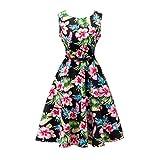 Yeokou Womens Sleeveless Floral Knee Length Cotton Hawaiian Flare Tank Dress (Large, Floral-01)