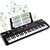 61 Keys Keyboard Piano, Electronic Digital Piano with Built-In Speaker Microphone, Sheet Stand and Power Supply, Portable Keyboard Gift Teaching for Beginners (Black) BD-612