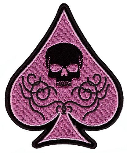Skull Spade Pink Embroidered Iron On MC Bike Patch Parche Motero Bordado Termoadhesivo