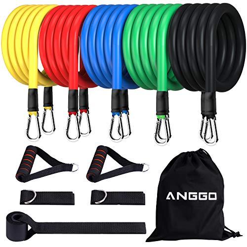ANGGO Set di Fasce di Resistenza, 100LBS / 150LBS Bande di Resistenza Fitness con 5 Bande Elastiche...