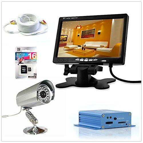 KIT VIDEOSORVEGLIANZA COMPLETO - DVR + TELECAMERA + MONITOR + SCHEDA SD 16 Gb + CAVO