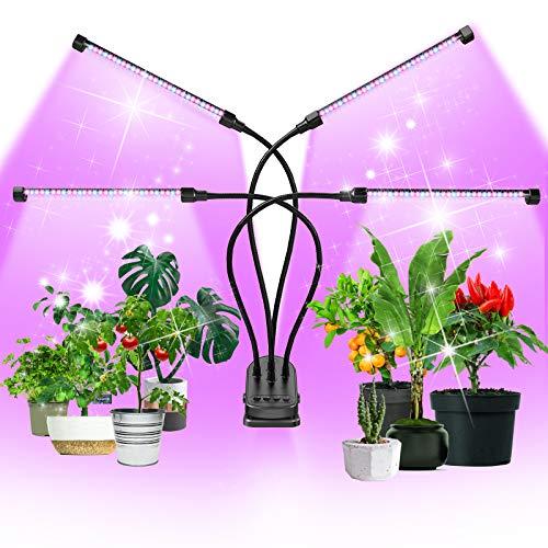 Pflanzenlampe LED 90W Pflanzenlicht 120 LEDs Pflanzenleuchte 4 Heads Wachstumslampe Wachsen licht, Grow Lampe Vollspektrum für Zimmerpflanzen mit Zeitschaltuhr, 5 Arten von Modus, Stufenloses Dimmen