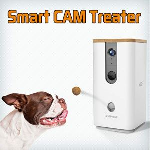 DOGNESS Pet Treat Dispenser with Camera, Monitor Your Pet Remotely with HD Video, Two-Way Audio, Night Vision, for Dogs and Cats (White)