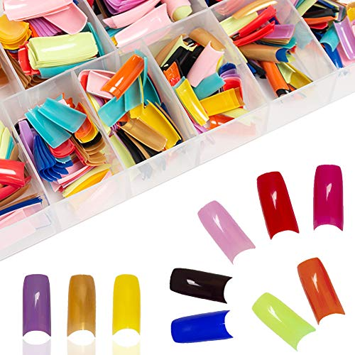 AORAEM 500 Pcs French False Acrylic Gel Nail Art Tips Half with Box