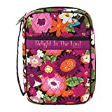 Dicksons Delight in The Lord Purple Floral Pattern Quilted Cotton Zippered Bible Cover Case with Handle, Thinline