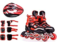 The inline skate shoe size is adjustable Like Small To Big And Big to Small Wheel : PU (Polyurethane) With Led Flash For First Wheels, Wheel Holder: Two Thicken Aluminium Alloy High Quality Body In-Line Skates Combo Size M (34-39 ) Skates for Kids Ag...