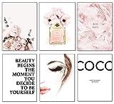 Artpin® Lot de 6 affiches murales élégantes pour salon, chambre à coucher, format A4 sans cadre – Motif Coco Rose W2