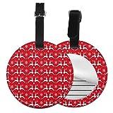 Rojo Feliz Navidad Personalizado Cuero De Lujo Maleta Etiqueta Set Accesorios De Viaje Etiquetas De Equipaje Redonda