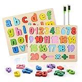 Colmanda Puzzle en Bois, 2 Pcs Alphabet en Bois et Numéro d'apprentissage Jouet...